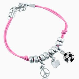 Peace Love Soccer Silver Charm Bracelet (Silver Ball Charm)