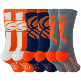 Basketball Woven Mid-Calf Sock Set - Orange Fury