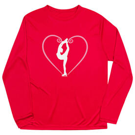 Figure Skating Long Sleeve Performance Tee - Heart Skater
