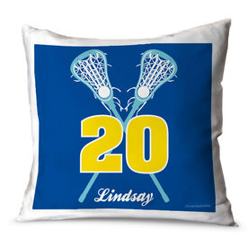 Girls Lacrosse Throw Pillow Personalized Crossed Girl Sticks