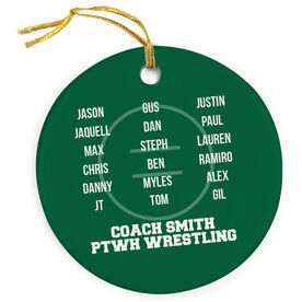 Wrestling Porcelain Ornament Personalized Team Roster