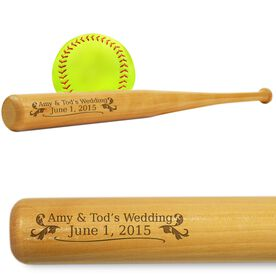 Softball Mini Engraved Bat Wedding Date