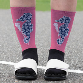 Girls Lacrosse Printed Mid-Calf Socks - Lax Seahorse