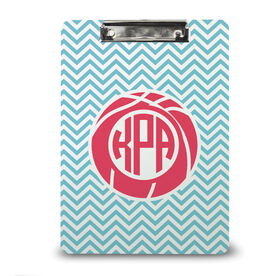 Basketball Custom Clipboard Monogram with Basketball and Chevron Pattern
