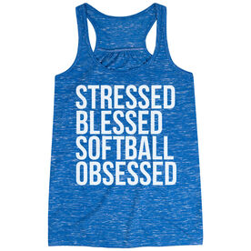 Softball Flowy Racerback Tank Top - Stressed Blessed Softball Obsessed