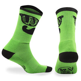 Guys Lacrosse Woven Mid Calf Socks - LAX BRO (Green)