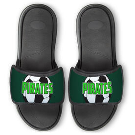 Soccer Repwell™ Slide Sandals - Soccer Ball with Text