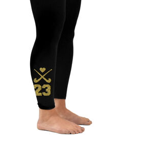 Field Hockey Leggings Crossed Sticks with Heart and Number