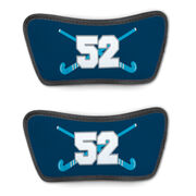 Field Hockey Repwell® Sandal Straps - Crossed Field Hockey Sticks with Numbers
