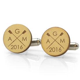 Crew Engraved Wood Cufflinks Crossed Oars Monogram With Year