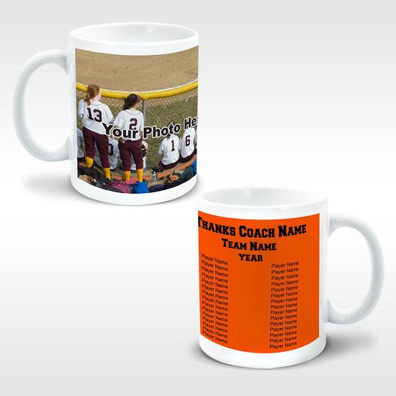 Softball Coffee Mug Thanks Coach Custom Photo With Team Roster