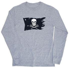 Guys Lacrosse T-Shirt Long Sleeve - Lax Pirate Flag