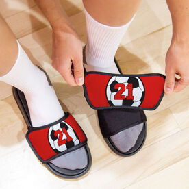 Soccer Repwell® Slide Sandals - Soccer Ball with Number
