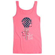 Girls Lacrosse Women's Athletic Tank Top - Patriotic Lax Girl