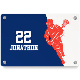 Guys Lacrosse Metal Wall Art Panel - Personalized Lacrosse Player Silhouette