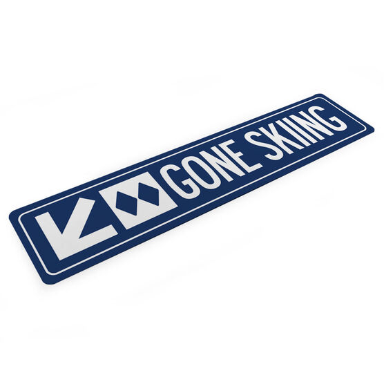 "Skiing Aluminum Room Sign - Gone Skiing (4""x18"")"