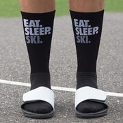 Skiing Printed Mid-Calf Socks - Eat Sleep Ski