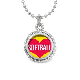 Heart Softball SportSNAPS Necklace