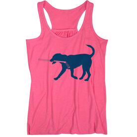Hockey Flowy Racerback Tank Top - Hockey Dog - Blue TRANSFER
