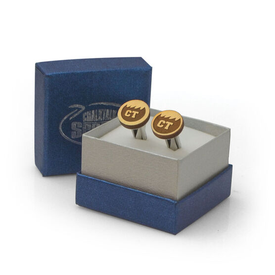Swimming Engraved Wood Cufflinks Your Initials Wave