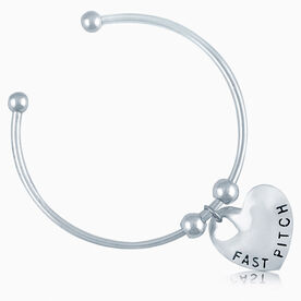Silver Fast Pitch Heart On Silver Plated Cuff Bracelet