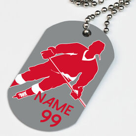 Hockey Printed Dog Tag Necklace Personalized Player Rink Turn