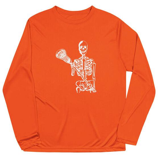 Guys Lacrosse Long Sleeve Performance Tee - Skeleton (White)