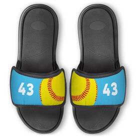 Softball Repwell™ Slide Sandals - Ball and Number Reflected