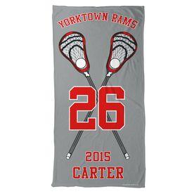 Guys Lacrosse Beach Towel Personalized Crossed Sticks Team