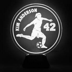 Soccer Acrylic LED Lamp Soccer Girl With Name and Number