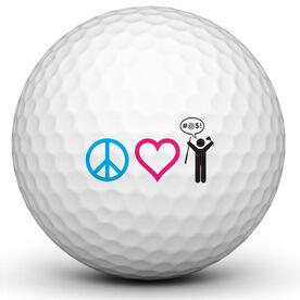 Peace Love Golf Golf Ball