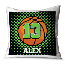 Basketball Throw Pillow Personalized Basketball With Dots Background