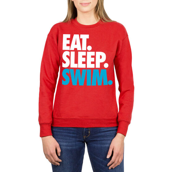 Swimming Crew Neck Sweatshirt - Eat Sleep Swim