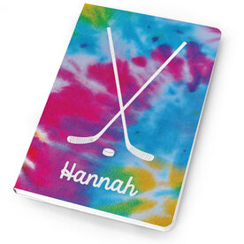 Hockey Notebook Tie Dye Pattern with Hockey Sticks