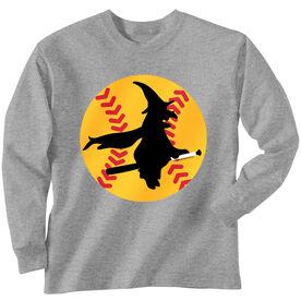 Softball Tshirt Long Sleeve Witch Riding Softball Bat