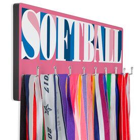 Softball Hooked on Medals Hanger - Softball Mosaic