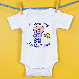 Softball Baby One-Piece I Love My Softball Dad
