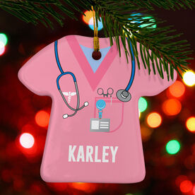 Personalized Porcelain Ornament - Nurse Scrubs