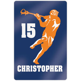 """Guys Lacrosse 18"""" X 12"""" Aluminum Room Sign - Personalized Jump Shot Silhouette"""