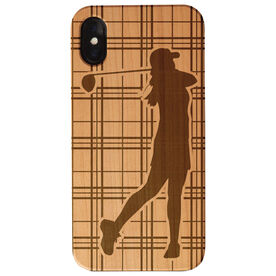 Golf Engraved Wood IPhone® Case - Female Plaid Player
