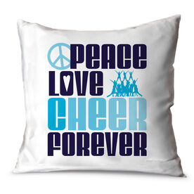 Cheerleading Throw Pillow Peace Love Cheer Forever
