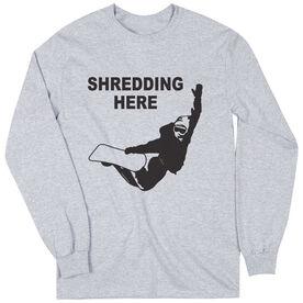 Snowboarding Tshirt Long Sleeve Shredding Here