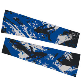 Baseball Printed Arm Sleeves - Baseball Grunge with Silhouette