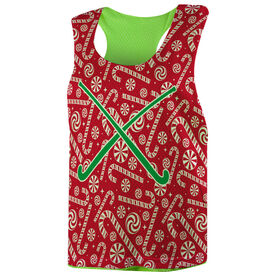 Field Hockey Racerback Pinnie - Candy Canes with Crossed Sticks