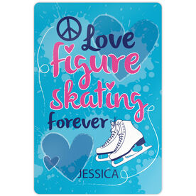 "Figure Skating 18"" X 12"" Aluminum Room Sign Peace Love Figure Skating Forever"