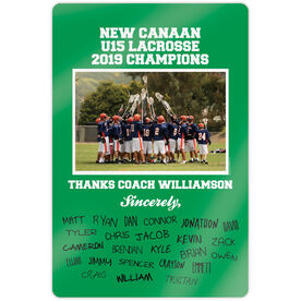 "Lacrosse 18"" X 12"" Aluminum Room Sign - Personalized Thanks Coach Team Photo with Signatures"