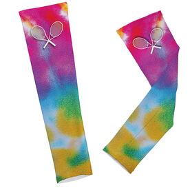Tie Dye Pattern with Tennis Rackets Arm Sleeves