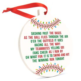 Baseball Round Ceramic Ornament - Jingle All the Way