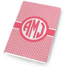 Personalized Notebook - Monogram Quatrefoil Pattern