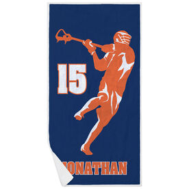 Guys Lacrosse Premium Beach Towel - Personalized Jump Shot Silhouette